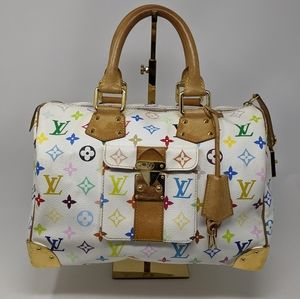 Louis Vuitton Speedy Handbag Multicolor WHITE 30